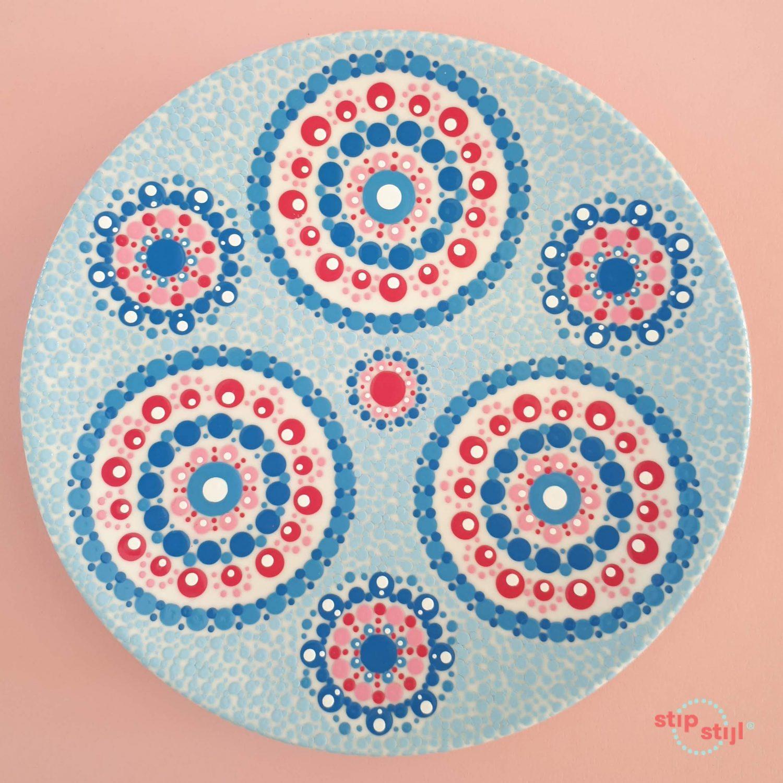 Stipstijl patroon Stip Triple roze en blauw variant