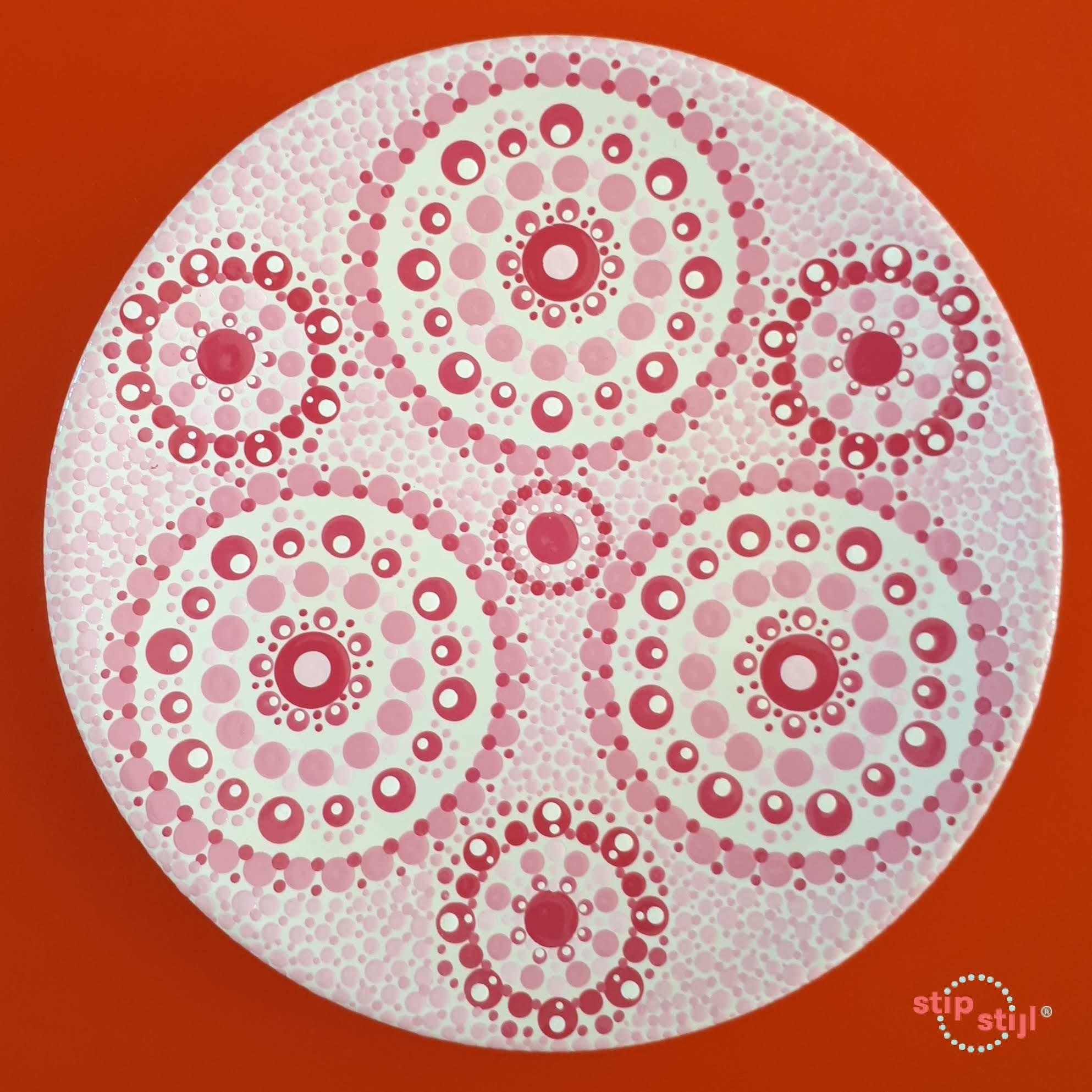 Stipstijl patroon Stip Triple roze variant bord Dille en Kamille