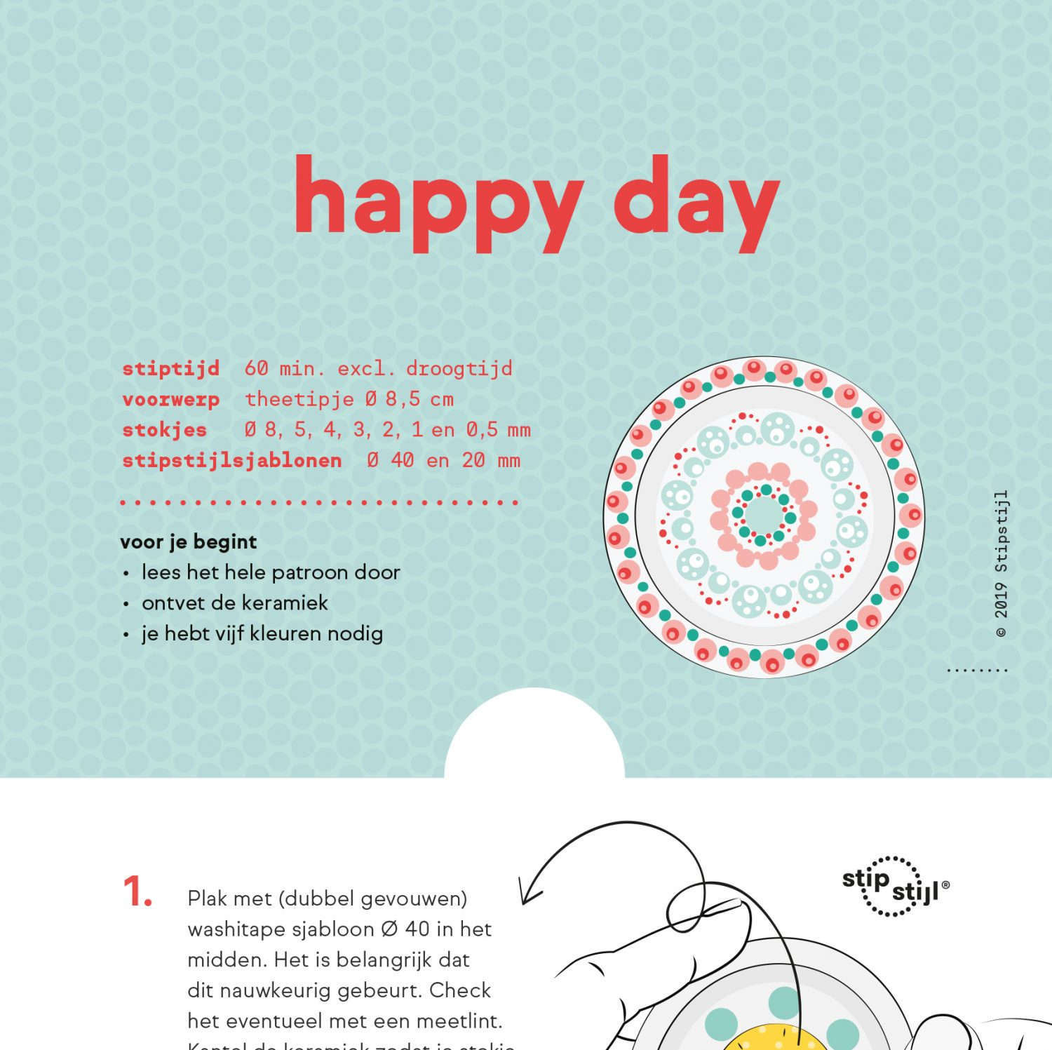 Stipstijl patroon Happy Day